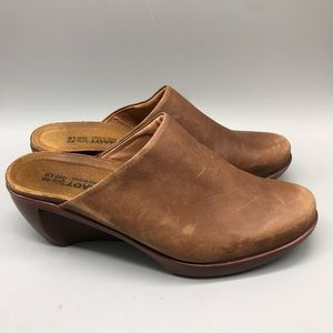 NAOT Brown genuine leather slip-on mules / clogs